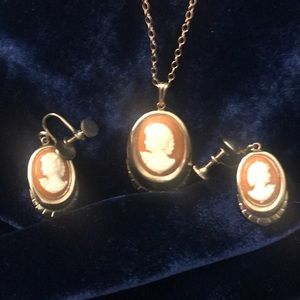 Jewelry - Vintage Resin Cameo Necklace and Earring Set
